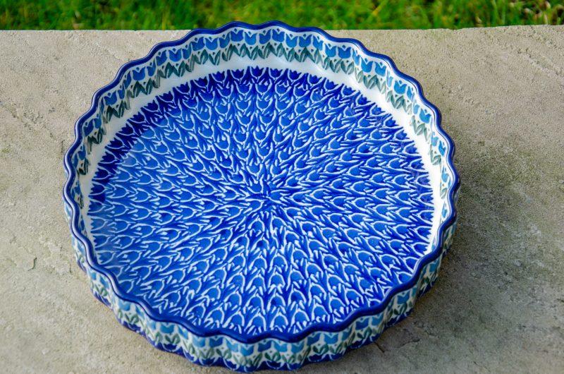 Blue Tulip Flan Dish by Ceramika Artystyczna