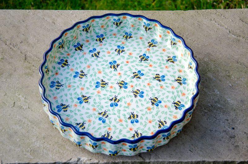 Bee Pattern Flan Dish by Ceramika Artystyczna