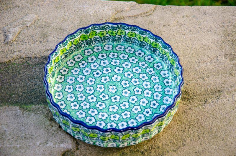 Green Meadow Small Flan Dish by Ceramika Artystyczna