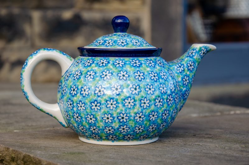 Turquoise Daisy Teapot for 2 people