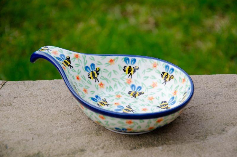 Bee Pattern Nibble Dish by Ceramika Artystyczna