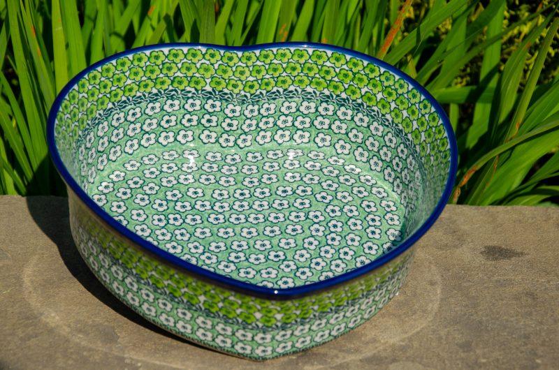 Green Meadow Heart Shaped Dish from Polkadot Lane UK