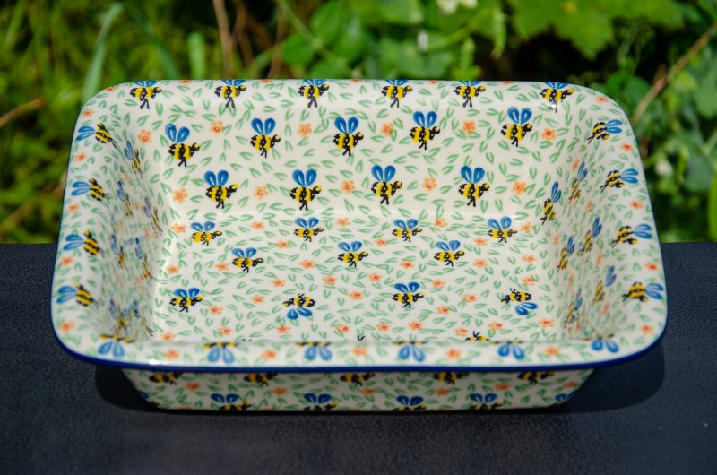 Bee Pattern Oven Dish Ceramika Artystyczna from Polkadot Lane UK
