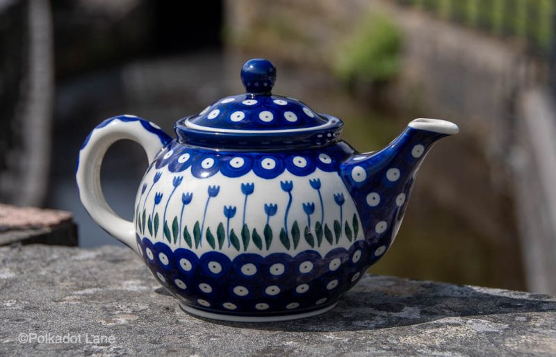 Teapot for two Flower Spotty pattern by Ceramika Artystyczna Polish Pottery