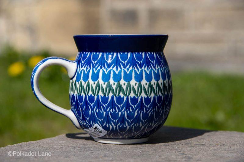 Blue Tulip Medium Size Mug by Ceramika artystyczna Polish Pottery