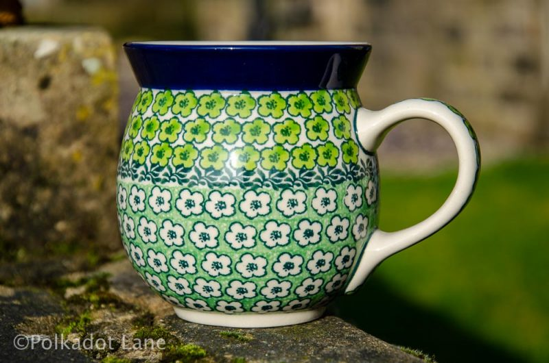 Green Meadow Large Mug Polkadot Lane Polish Pottery