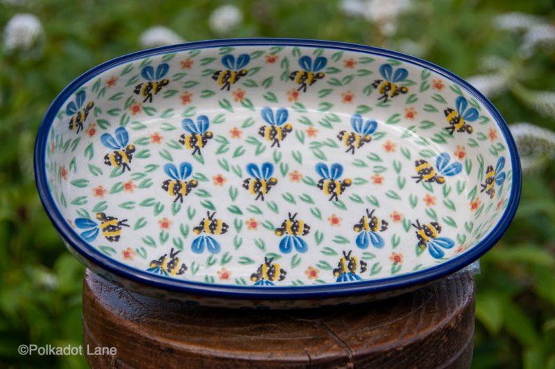 Bee Pattern Small Serving Dish by Ceramika Artystyczna