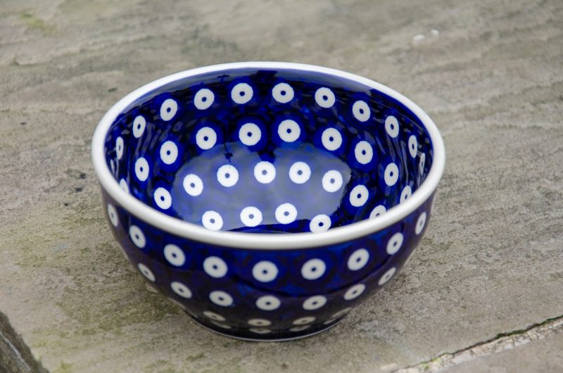 Blue Spotty Cereal Bowl By Ceramika Manufaktura