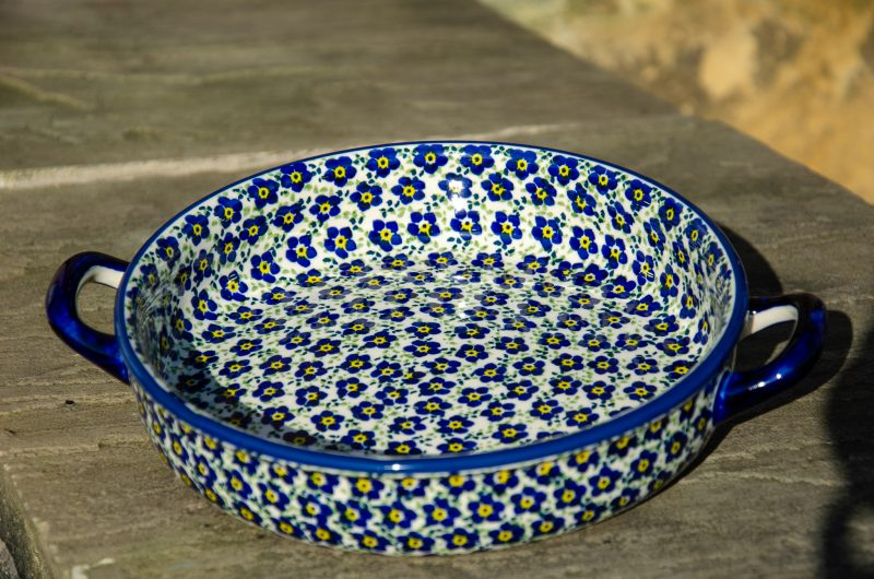 Ditzy Blue Round Dish With Handles by Ceramika Manufaktura.