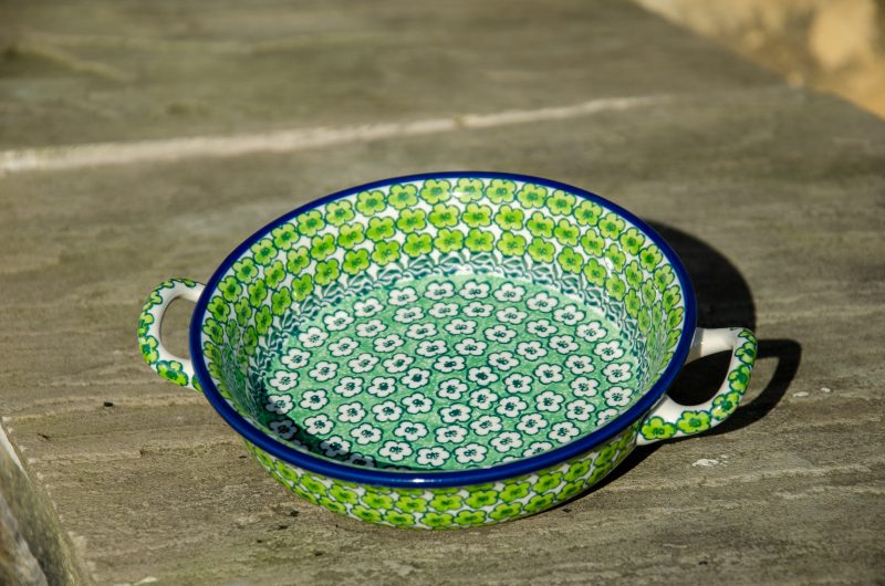 Green Meadow Round Dish With Handles from Polkadot Lane UK