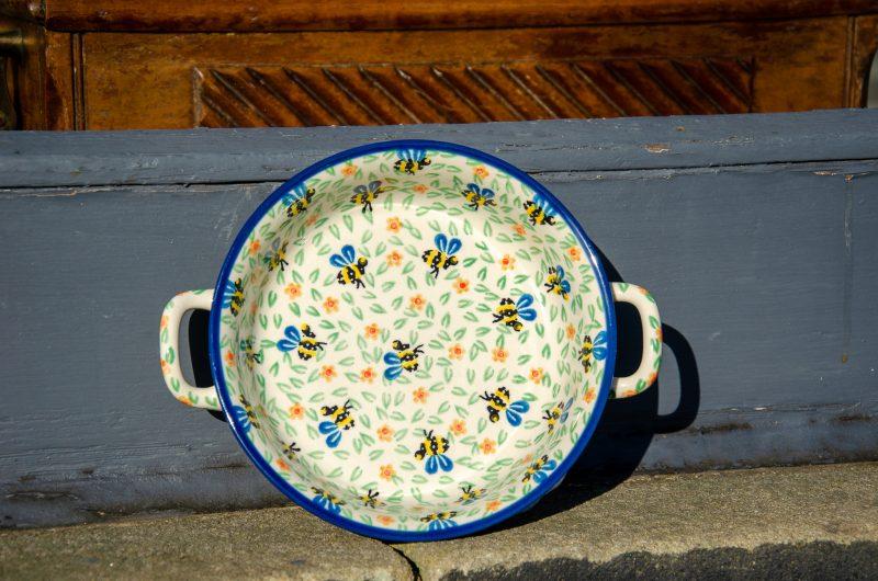 Bee Round Dish With Handles by Ceramika Artystyczna