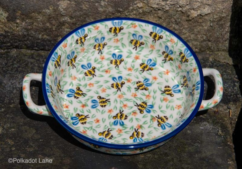 Small Round Serving Dish Bee Pattern by Ceramika Artystyczna