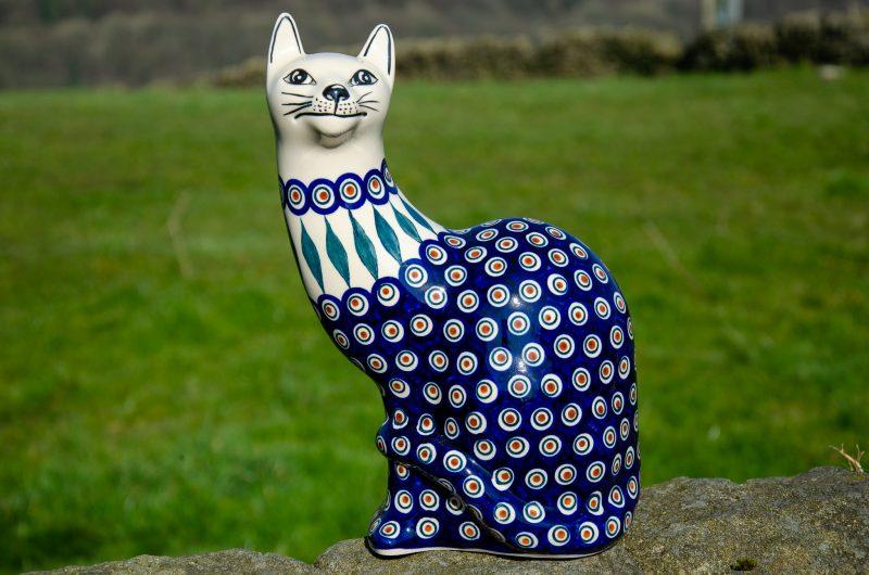 Peacock Leaf Large Ceramic Cat by Ceramika Manufaktura