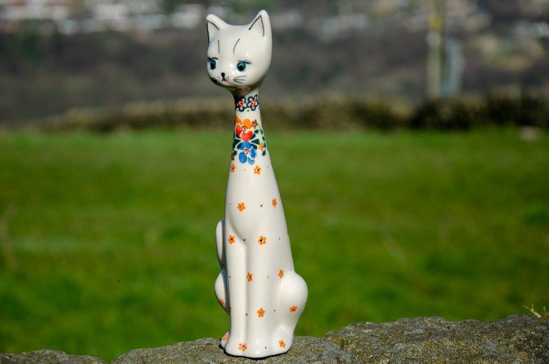 Orange Flower Ceramic Cat by Ceramika Millena