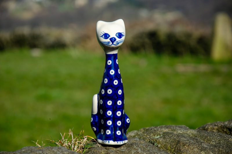 Blue Spotty Small Cat by Ceramika Andy