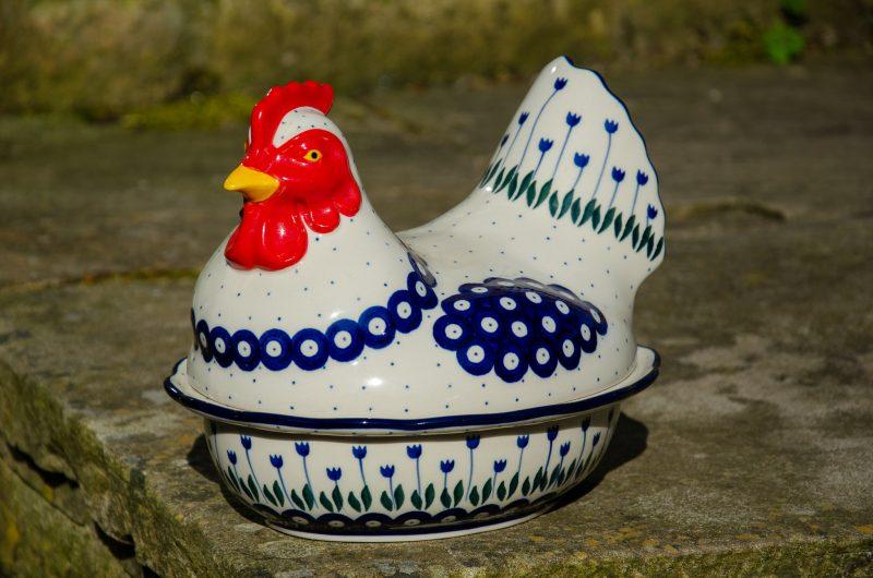 Flower Spot Hen Egg Container by Ceramika Artystyczna