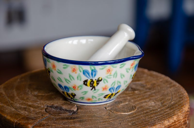 Bee Pattern Pestle and Mortar by Ceramika Artystyczna