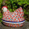 Ditzy Red Flower Hen on Nest