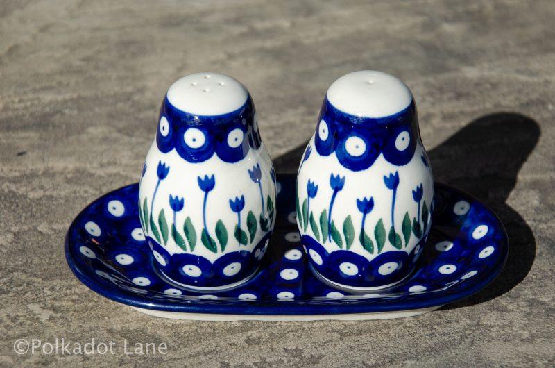 Flower Spot Salt and Pepper Pot Set by Artystyczna Polish Pottery
