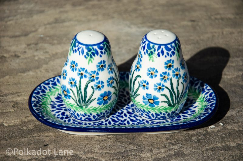 Forget Me Not Salt and Pepper Pot Set by Ceramika Artystyczna