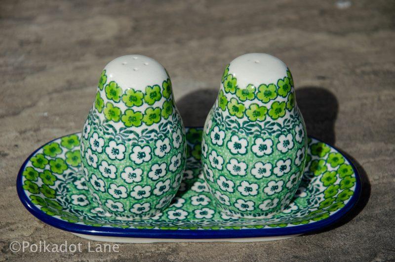 Polish Pottery Green Meadow Salt and Pepper Pot Set from Polkadot Lane UK