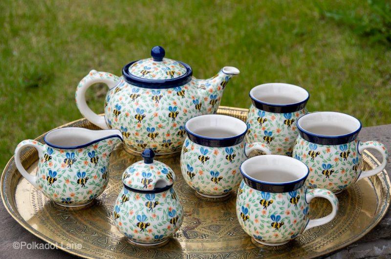 Tea Set Bee Pattern by Ceramika Artystyczna Polish Polish Pottery
