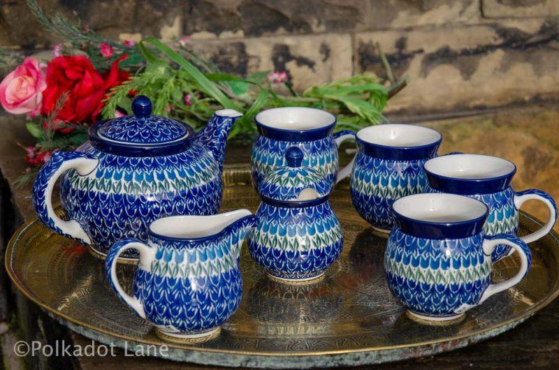 Polish Pottery Blue Tulip Tea Set from Polkadot Lane UK