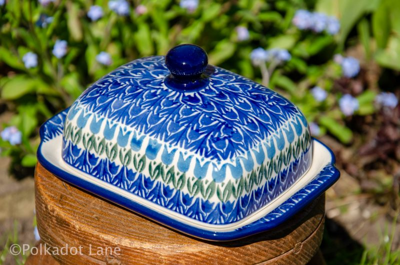 Polish Pottery Blue Tulip Butter Dish by Ceramika Artystyczna from Polkadot Lane UK