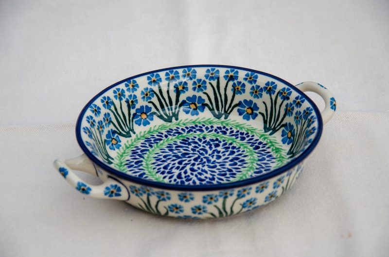 Forget Me Not Round Dish With Handles Small Size