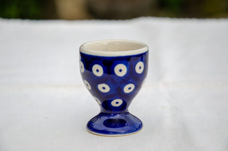 Polish Pottery Blue Spotty Egg Cup