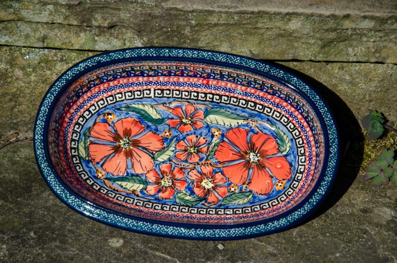 Poppy Oval Dish by Ceramika Zaklady.
