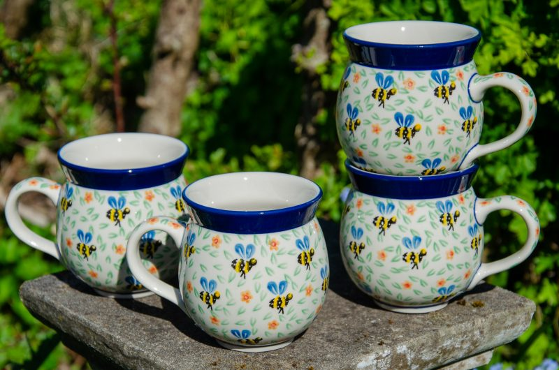 Bee Pattern set of Four Mugs by Ceramika Artystyczna