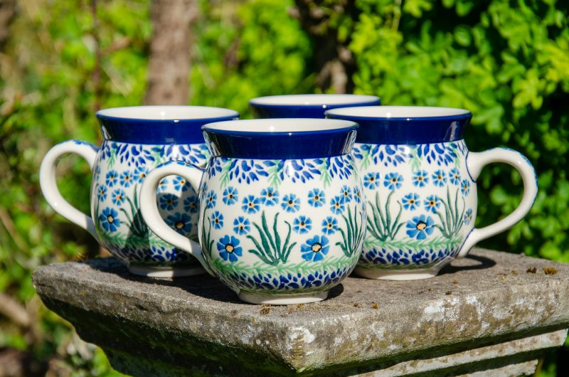 Forget Me Not Set of Four Mugs by Ceramika Artystyczna