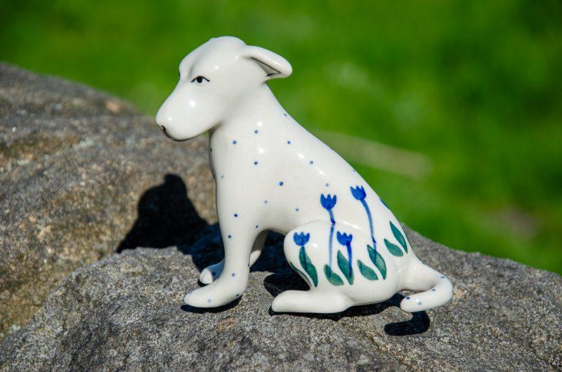 Flower Spot Dog Figurine by Ceramika Artystyczna