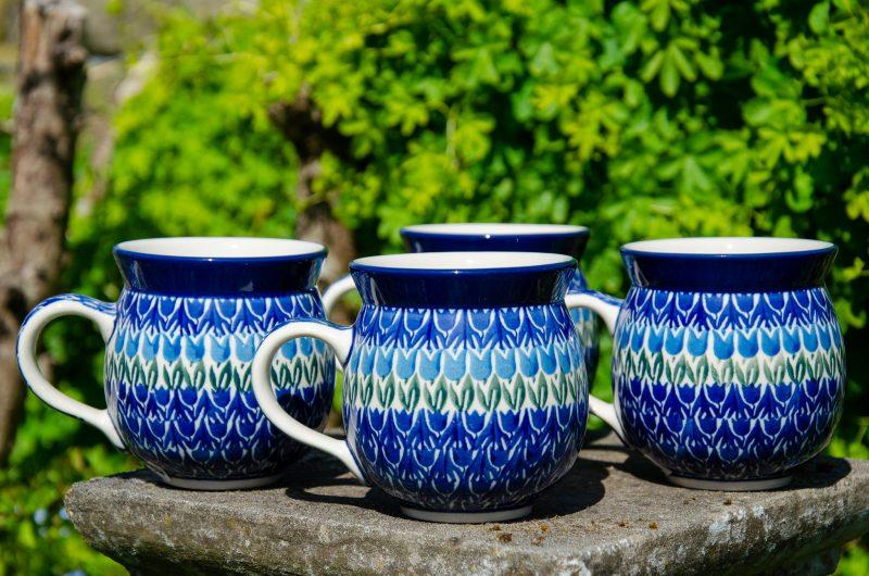Blue Tulip Set of Four mugs by Ceramika Artystyczna