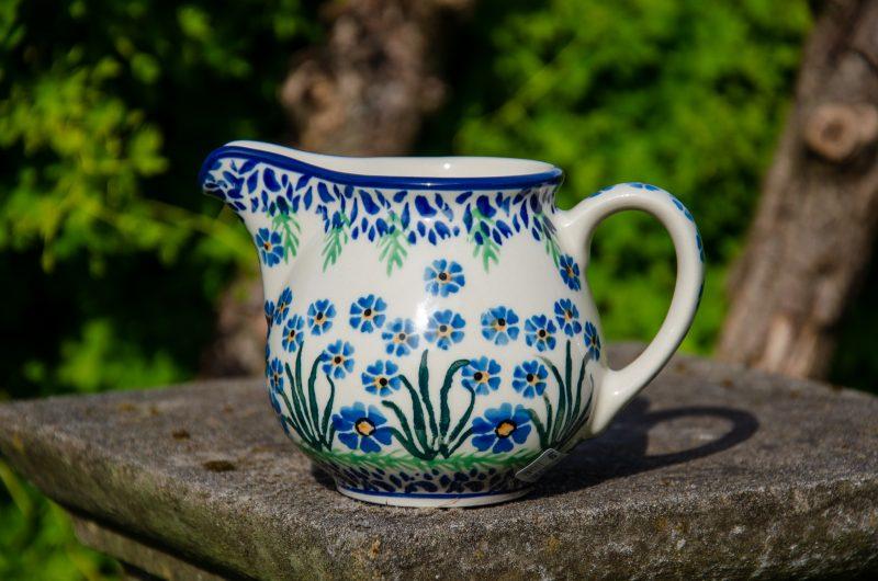 Forget Me Not Milk Jug Polish Pottery from Polkadot Lane UK