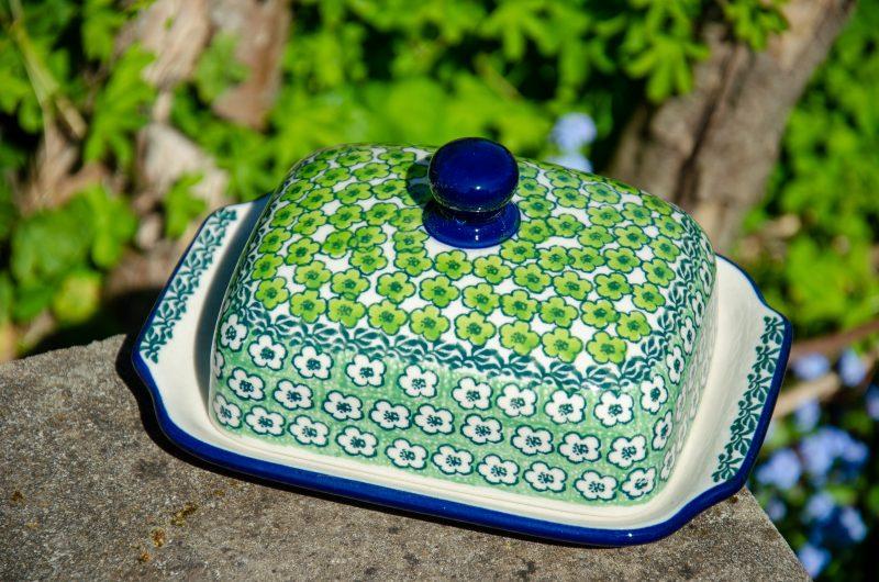 Green Meadow Butter Dish from Polkadot Lane Polish Pottery