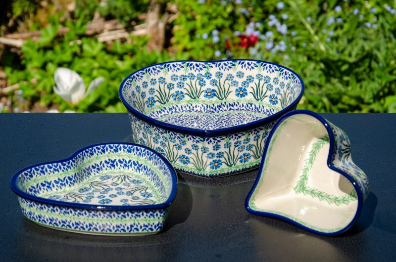 Forget Me Not Heart Dish Set by Ceramika Artystyczna