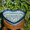 Forget Me Not Shallow Heart Dish by Ceramika Artystyczna
