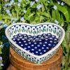 Polish Pottery Flower Spot Shallow Heart Bowl from Polkadot Lane UK