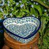 Polish Pottery Blue Berry Leaf Shallow Heart Dish by Polkadot Lane UK