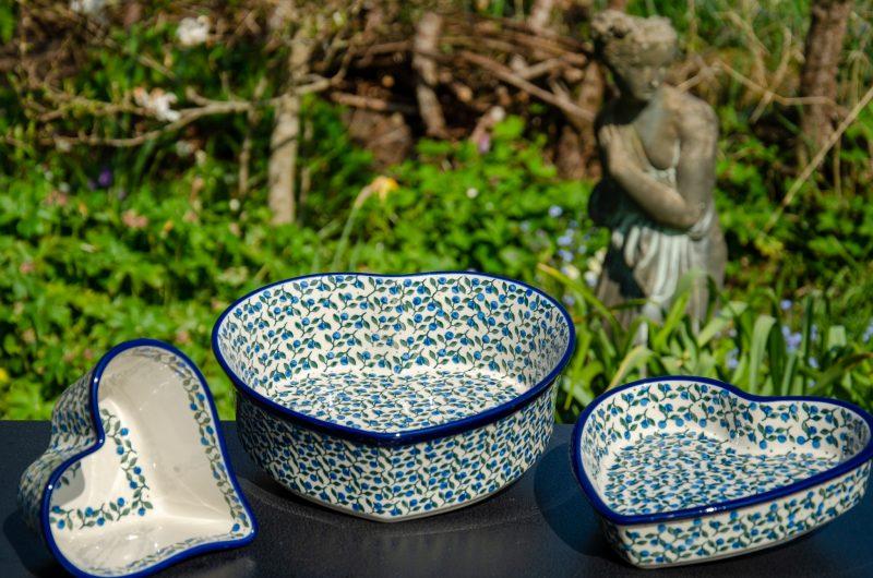 Polish Pottery Blue Berry Leaf Heart Dish Set from Polkadot Lane UK