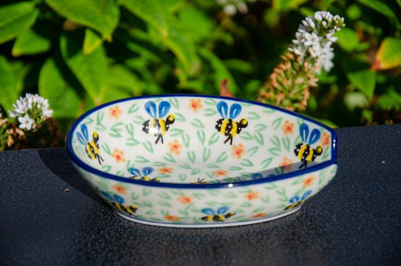 Polish Pottery Bee Pattern Spoon Rest by Ceramika Artystyczna