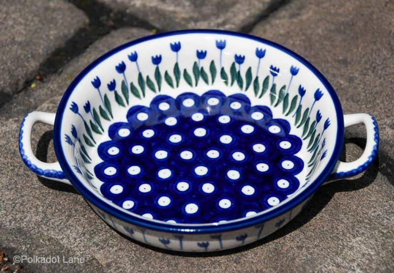 Flower Spot Round Serving Dish with Handles from Ceramika Artystyczna