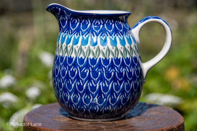 Blue Tulip Small Jug by Ceramika Artystyczna Polish Pottery