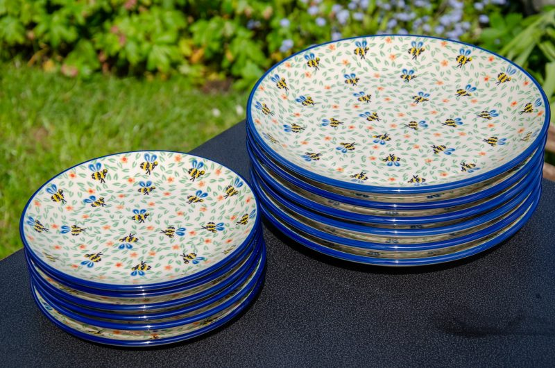 Bee Pattern Plate Set Dinner and Side Plates. From Polkadot Lane UK