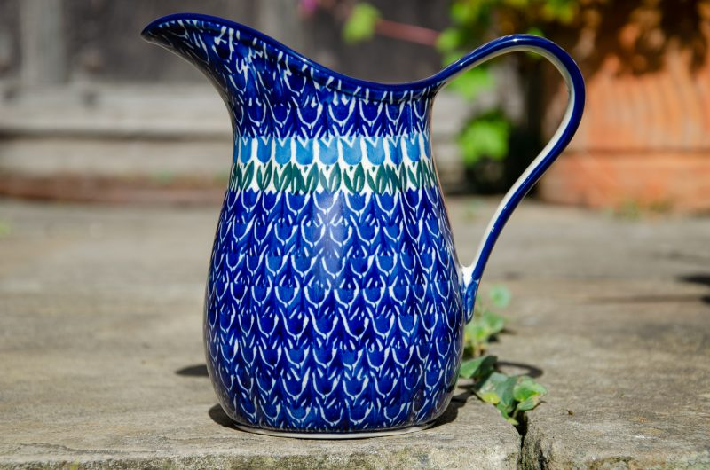 Polish Pottery Blue Tulip Medium Size Jug by Ceramika Artystyczna. From Polkadot Lane UK
