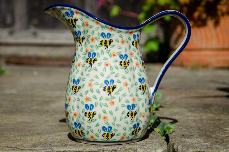 Polish Pottery Bee Pattern Medium Jug by Ceramika Artystyczna