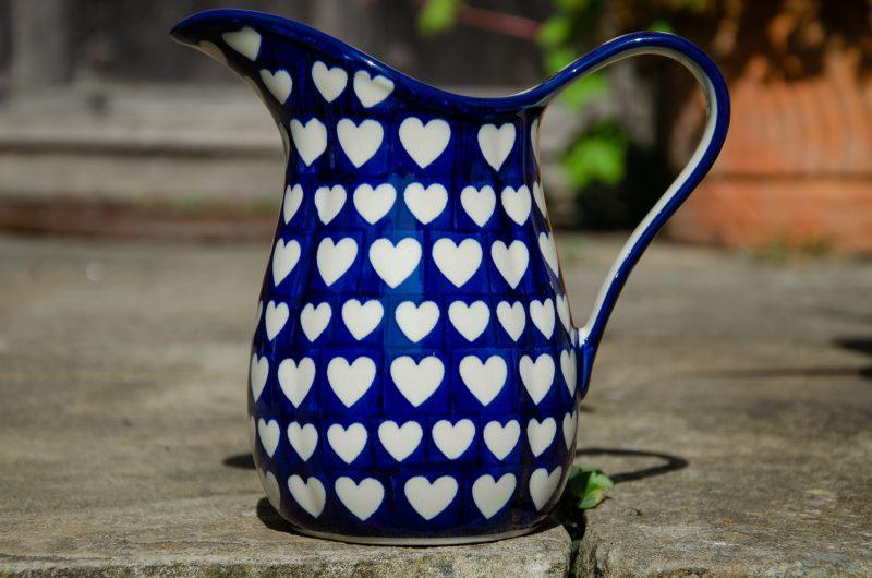 Large Hearts Jug by Ceramika Artystyczna from Polkadot Lane UK