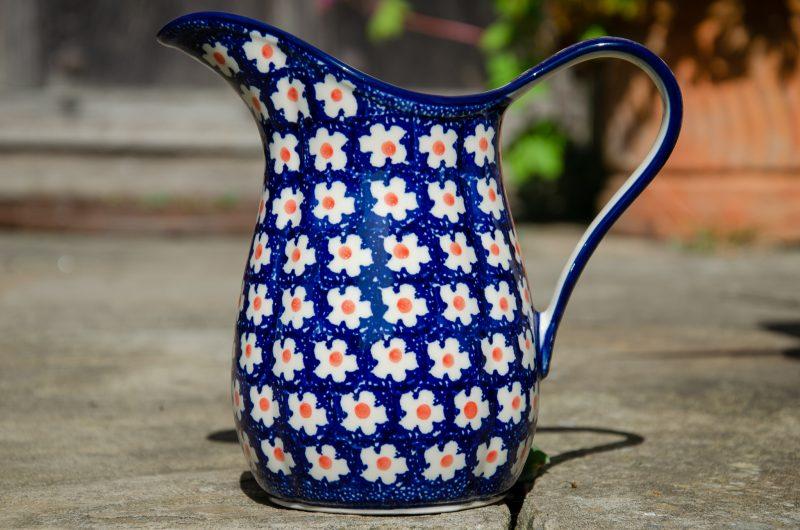 Polish Pottery Orange Spot Jug by Ceramika Artystyczna Polish Pottery